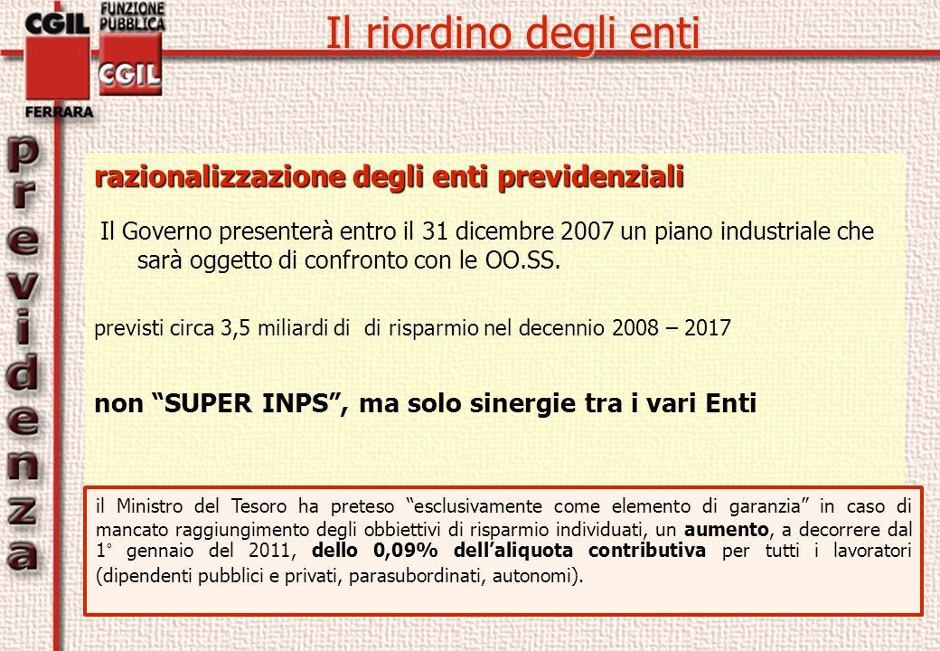 razionalizzazione degli enti previdenziali Il Governo presenterà entro il 31 dicembre 2007 un piano industriale che sarà oggetto di confronto con le OO.SS.