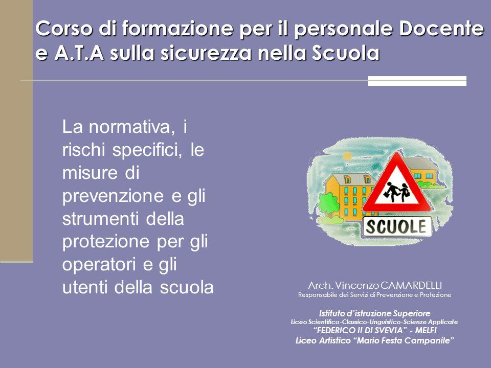 Corso di formazione per il personale Docente e A.T.A sulla sicurezza nella Scuola Arch. Vincenzo CAMARDELLI Responsabile dei Servizi di Prevenzione e