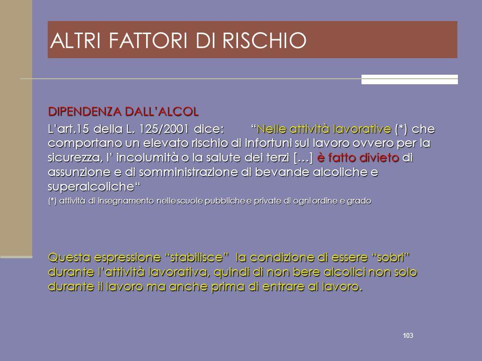 103 ALTRI FATTORI DI RISCHIO DIPENDENZA DALLALCOL Lart.15 della L. 125/2001 dice: Nelle attività lavorative (*) che comportano un elevato rischio di i
