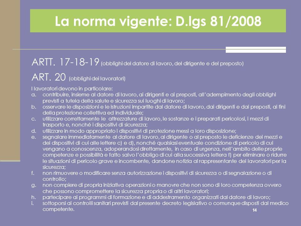 14 ARTT. 17-18-19 (obblighi del datore di lavoro, del dirigente e del preposto) ART. 20 (obblighi dei lavoratori) I lavoratori devono in particolare: