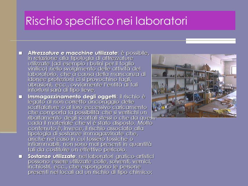 Attrezzature e macchine utilizzate : è possibile, in relazione alla tipologia di attrezzature utilizzate (ad esempio i bulini per il foglio vinilico)