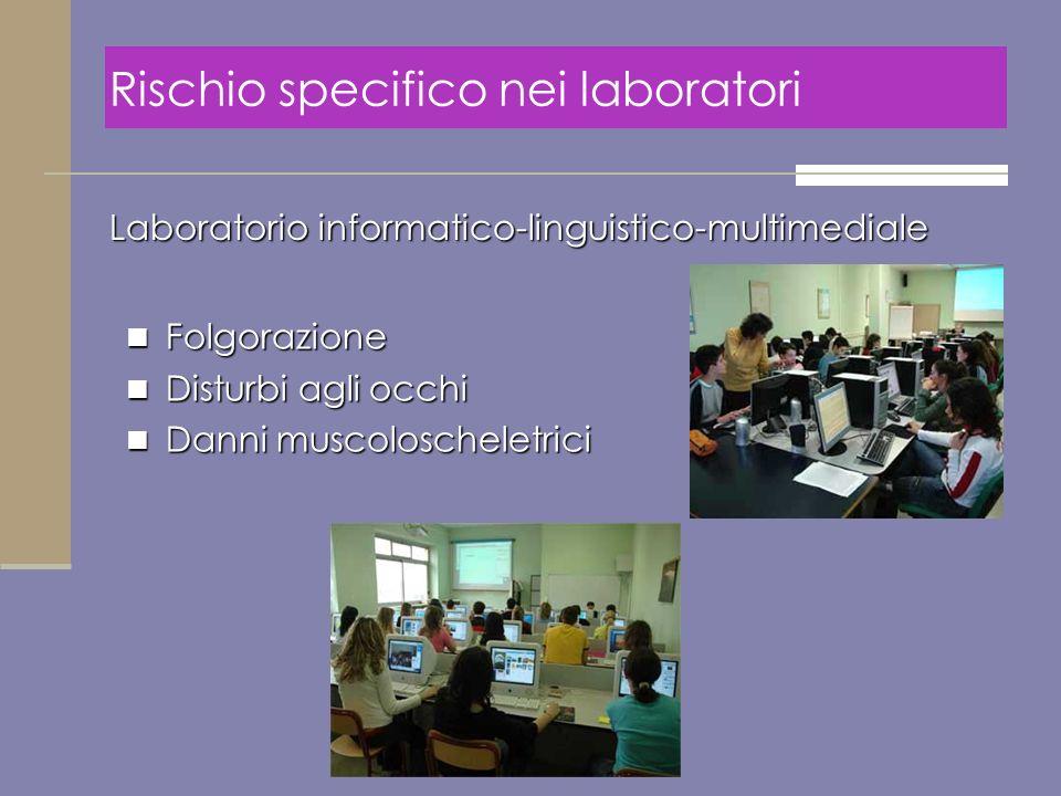 Laboratorio informatico-linguistico-multimediale Folgorazione Folgorazione Disturbi agli occhi Disturbi agli occhi Danni muscoloscheletrici Danni musc