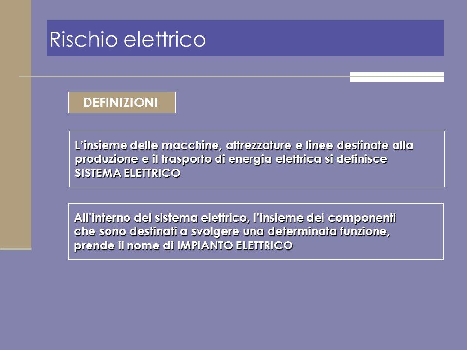 Rischio elettrico DEFINIZIONI Linsieme delle macchine, attrezzature e linee destinate alla produzione e il trasporto di energia elettrica si definisce