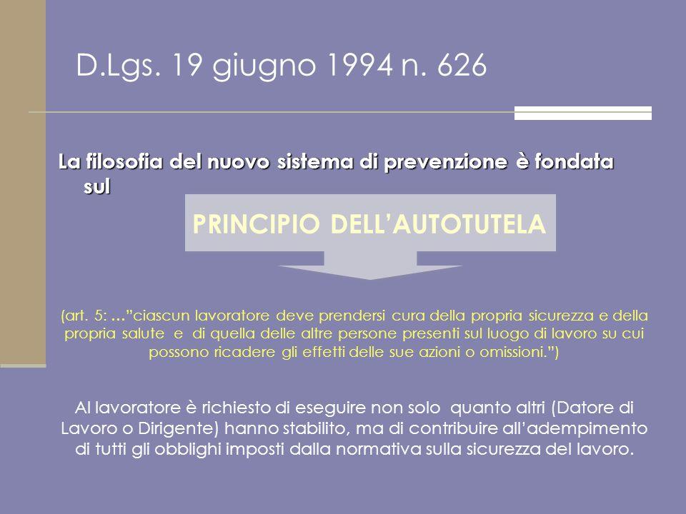 La filosofia del nuovo sistema di prevenzione è fondata sul D.Lgs. 19 giugno 1994 n. 626 (art. 5: …ciascun lavoratore deve prendersi cura della propri