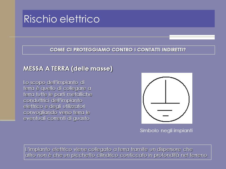 MESSA A TERRA (delle masse) Limpianto elettrico viene collegato a terra tramite un dispersore che altro non è che un picchetto cilindrico conficcato i
