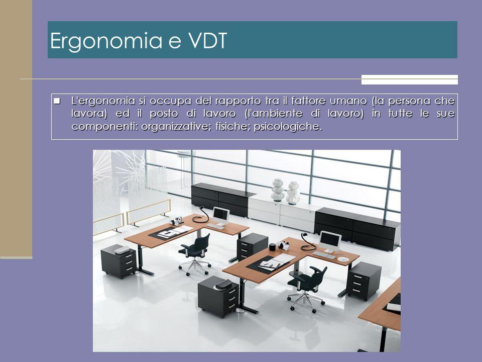 L'ergonomia si occupa del rapporto tra il fattore umano (la persona che lavora) ed il posto di lavoro (l'ambiente di lavoro) in tutte le sue component