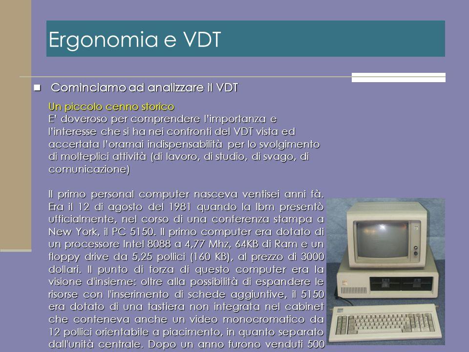 Cominciamo ad analizzare il VDT Cominciamo ad analizzare il VDT Ergonomia e VDT Un piccolo cenno storico E doveroso per comprendere limportanza e lint