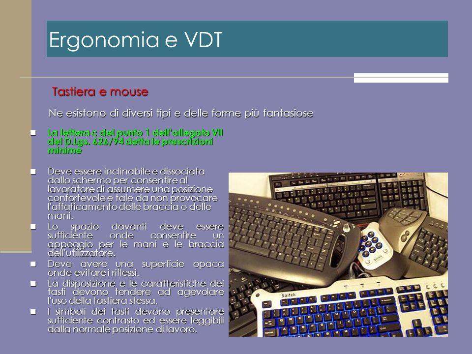 Ne esistono di diversi tipi e delle forme più fantasiose Tastiera e mouse Ergonomia e VDT La lettera c del punto 1 dellallegato VII del D.Lgs. 626/94