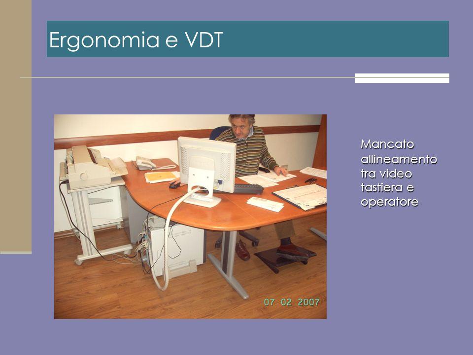 Mancato allineamento tra video tastiera e operatore Ergonomia e VDT