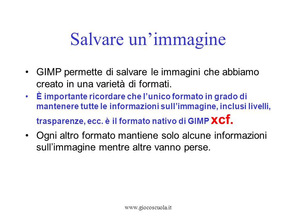 www.giocoscuola.it Salvare unimmagine GIMP permette di salvare le immagini che abbiamo creato in una varietà di formati. È importante ricordare che lu