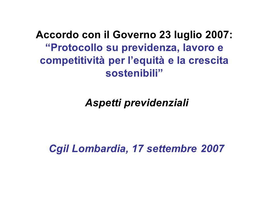 Accordo con il Governo 23 luglio 2007: Protocollo su previdenza, lavoro e competitività per lequità e la crescita sostenibili Aspetti previdenziali Cgil Lombardia, 17 settembre 2007