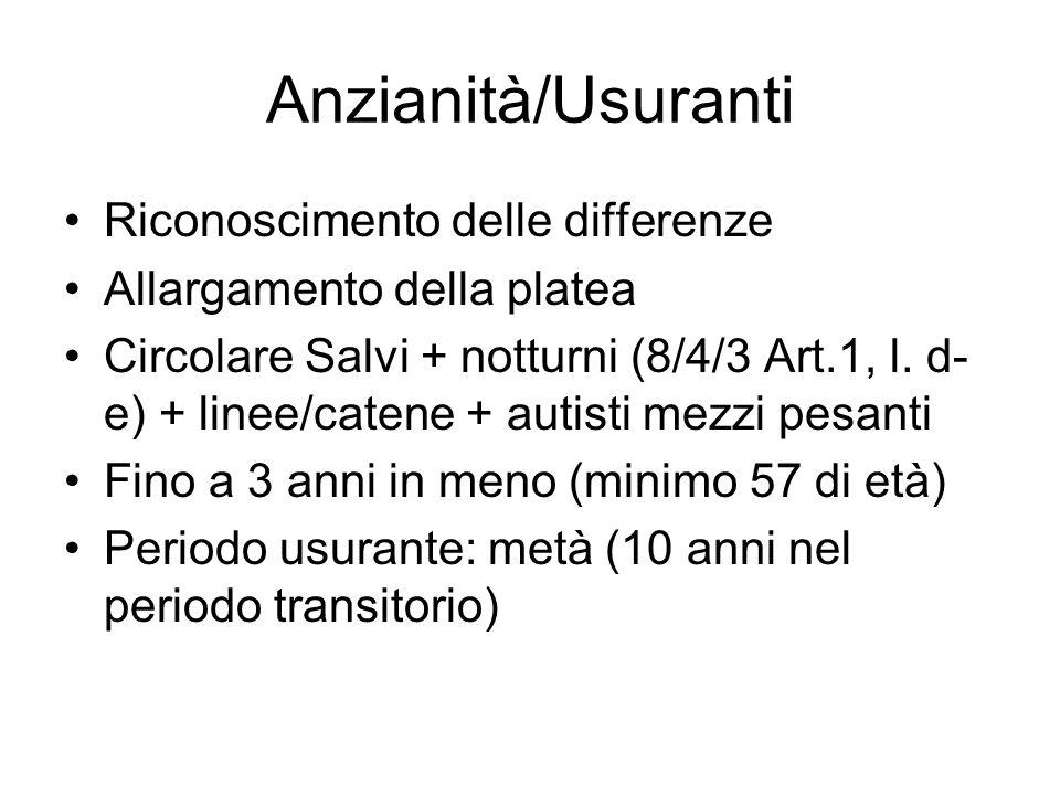 Anzianità/Usuranti Riconoscimento delle differenze Allargamento della platea Circolare Salvi + notturni (8/4/3 Art.1, l.