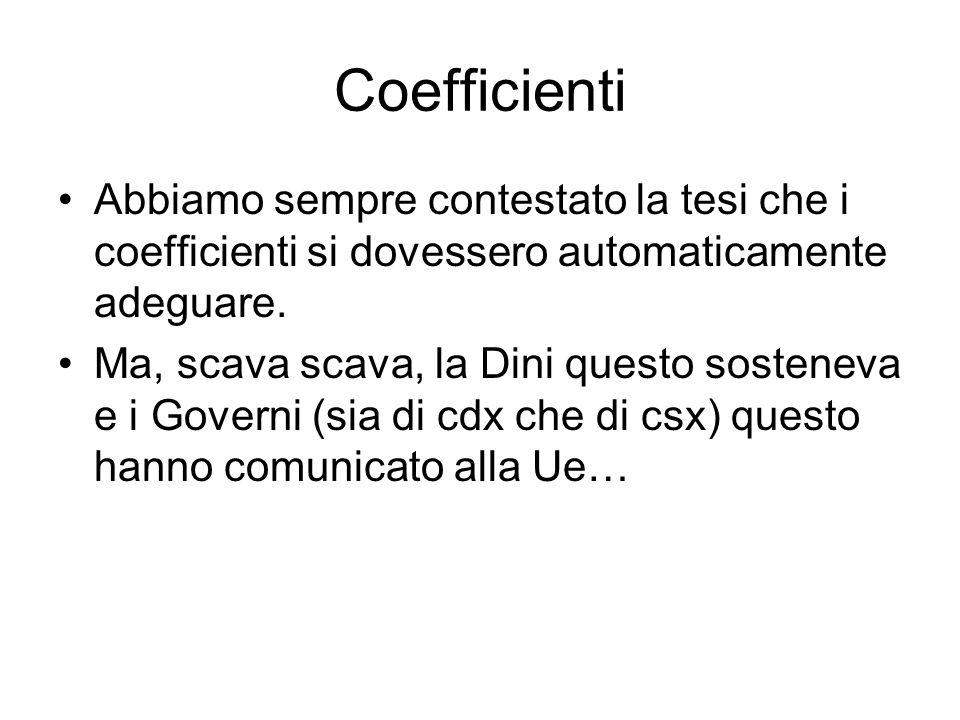 Coefficienti Abbiamo sempre contestato la tesi che i coefficienti si dovessero automaticamente adeguare.
