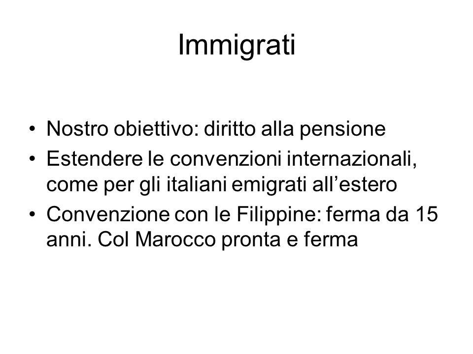 Immigrati Nostro obiettivo: diritto alla pensione Estendere le convenzioni internazionali, come per gli italiani emigrati allestero Convenzione con le Filippine: ferma da 15 anni.