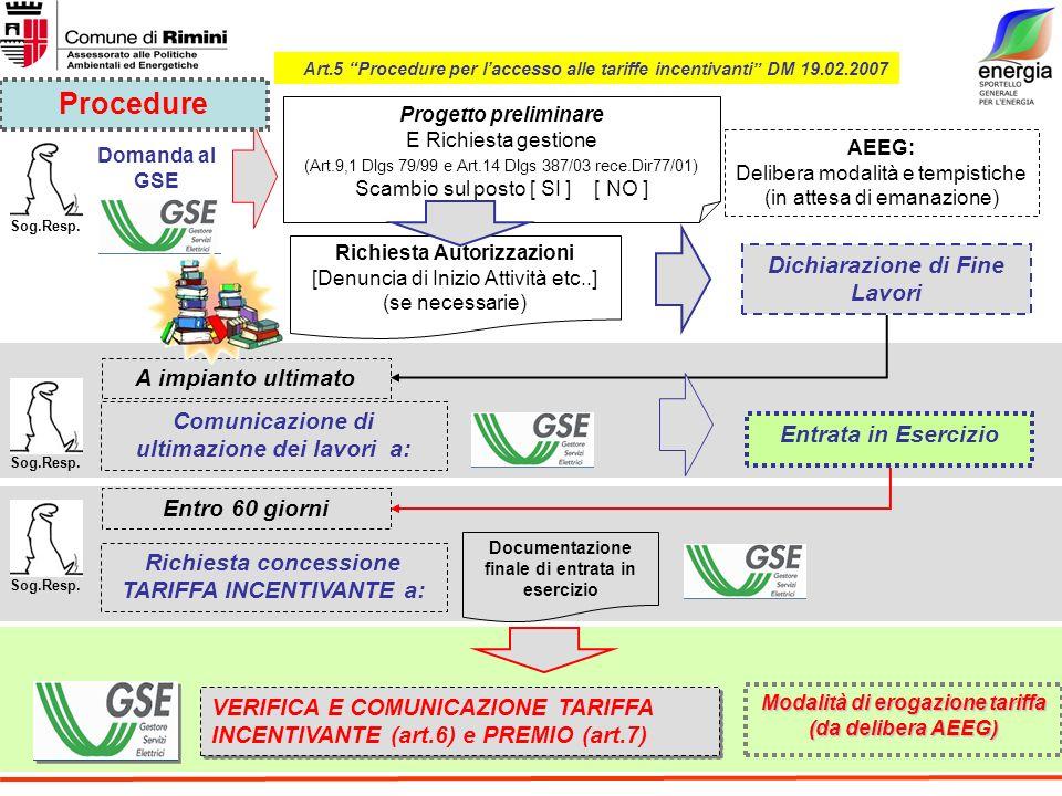 AEEG: Delibera modalità e tempistiche (in attesa di emanazione) Richiesta Autorizzazioni [Denuncia di Inizio Attività etc..] (se necessarie) Entrata i