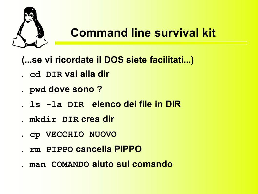 Command line survival kit (...se vi ricordate il DOS siete facilitati...) cd DIR vai alla dir pwd dove sono ? ls -la DIR elenco dei file in DIR mkdir