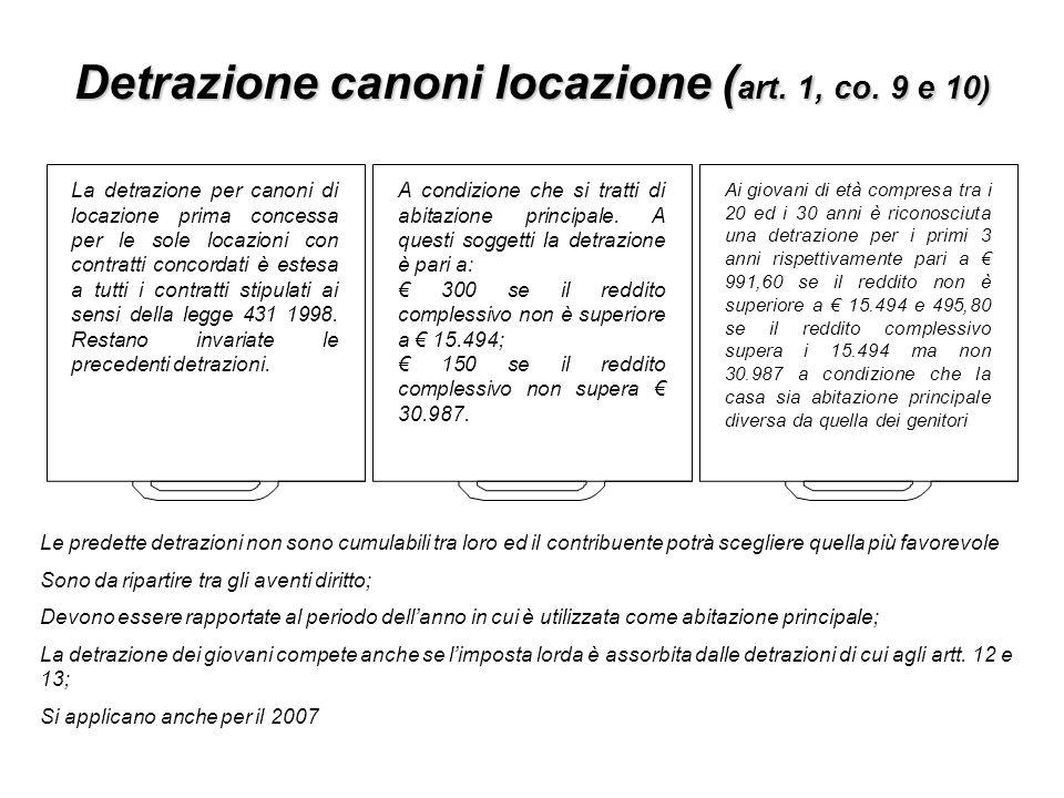 Detrazione canoni locazione ( art. 1, co. 9 e 10) La detrazione per canoni di locazione prima concessa per le sole locazioni con contratti concordati