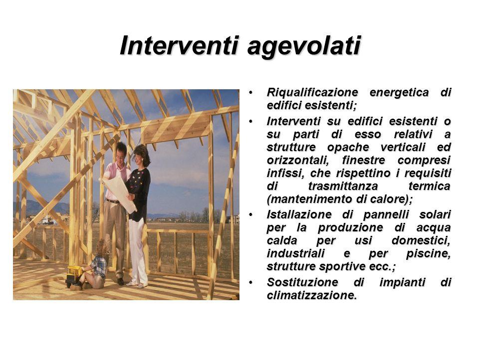 Interventi agevolati Riqualificazione energetica di edifici esistenti;Riqualificazione energetica di edifici esistenti; Interventi su edifici esistent