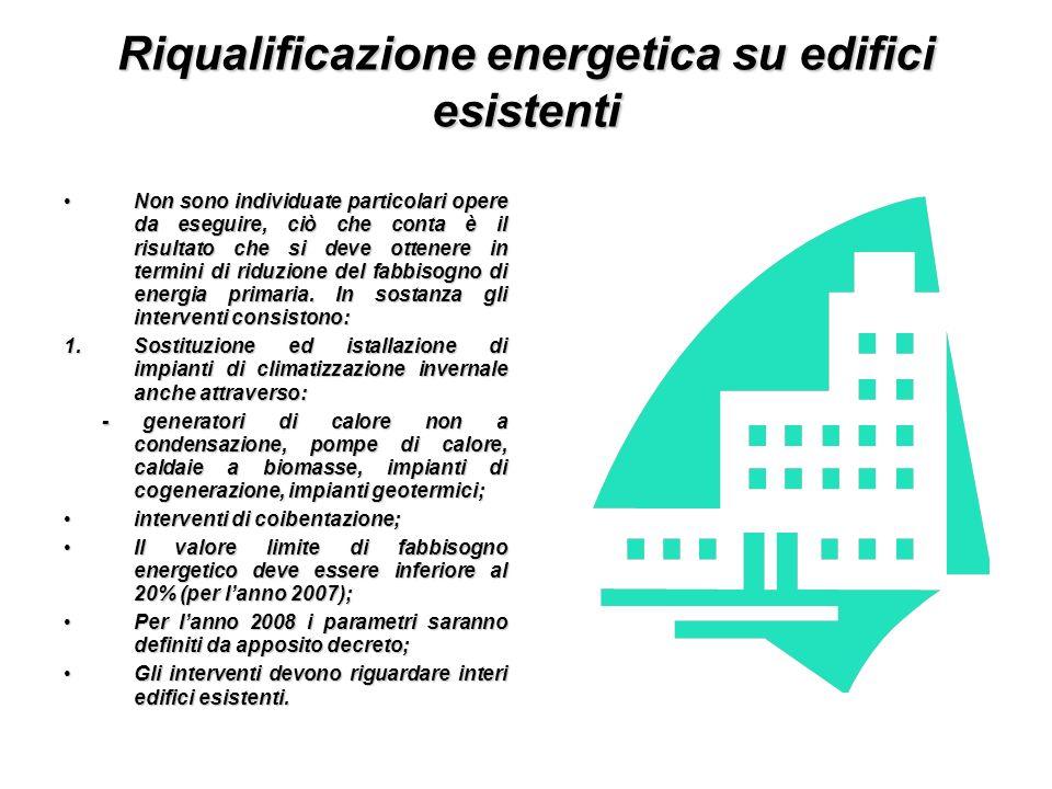 Riqualificazione energetica su edifici esistenti Non sono individuate particolari opere da eseguire, ciò che conta è il risultato che si deve ottenere