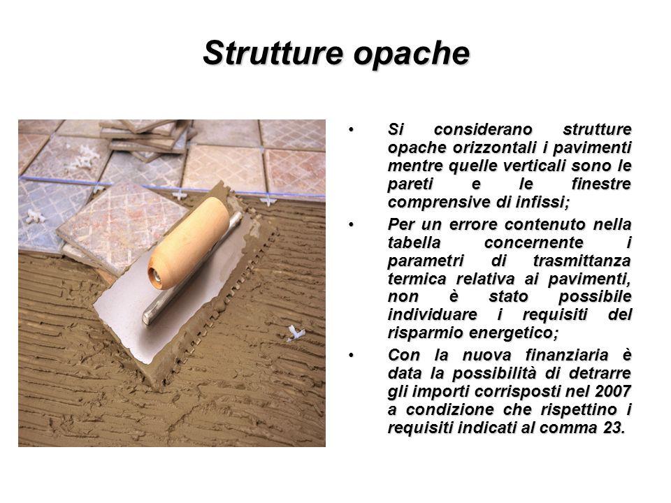Strutture opache Si considerano strutture opache orizzontali i pavimenti mentre quelle verticali sono le pareti e le finestre comprensive di infissi;S