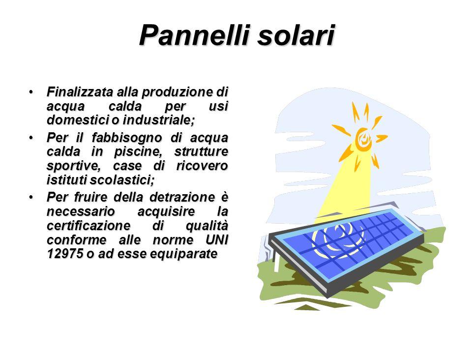 Pannelli solari Finalizzata alla produzione di acqua calda per usi domestici o industriale;Finalizzata alla produzione di acqua calda per usi domestic