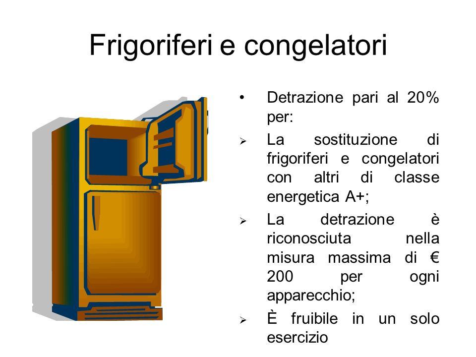 Frigoriferi e congelatori Detrazione pari al 20% per: La sostituzione di frigoriferi e congelatori con altri di classe energetica A+; La detrazione è