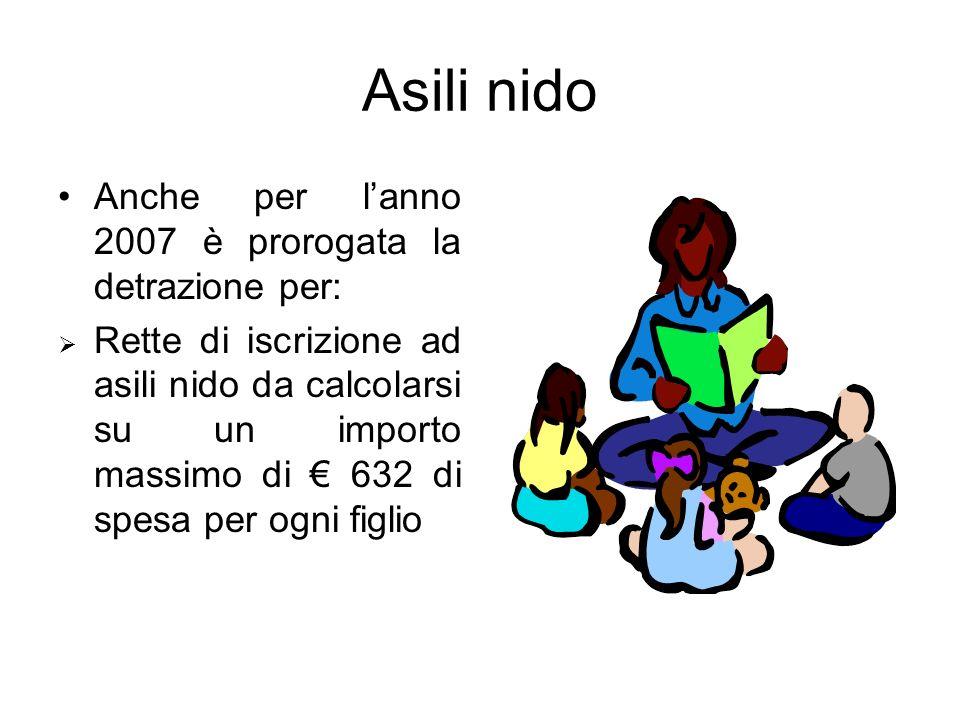 Asili nido Anche per lanno 2007 è prorogata la detrazione per: Rette di iscrizione ad asili nido da calcolarsi su un importo massimo di 632 di spesa p