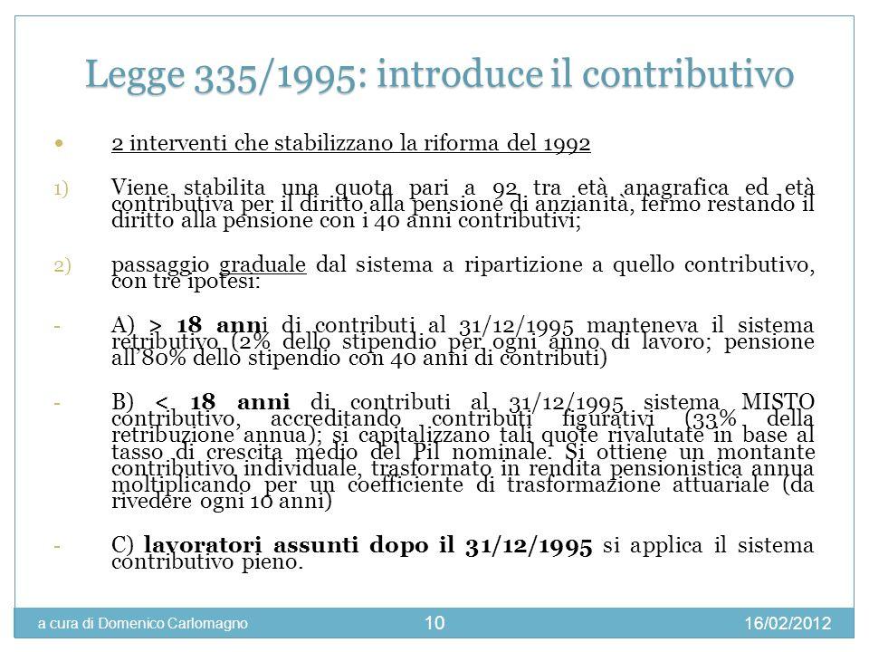 16/02/2012 a cura di Domenico Carlomagno 10 2 interventi che stabilizzano la riforma del 1992 1) Viene stabilita una quota pari a 92 tra età anagrafic