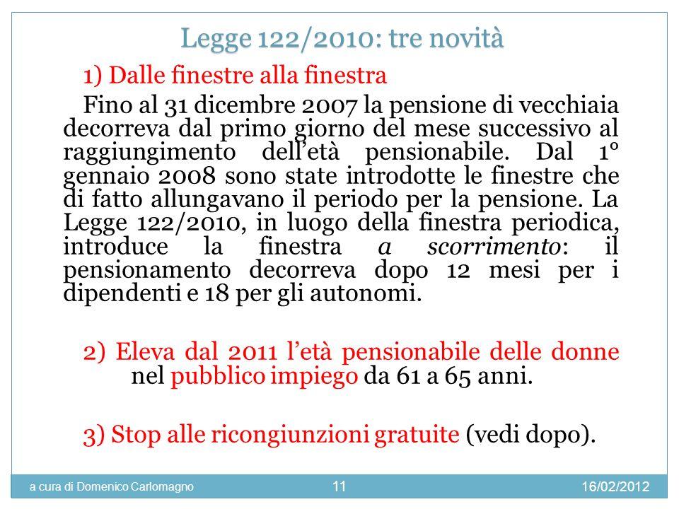 16/02/2012 a cura di Domenico Carlomagno 11 1) Dalle finestre alla finestra Fino al 31 dicembre 2007 la pensione di vecchiaia decorreva dal primo gior