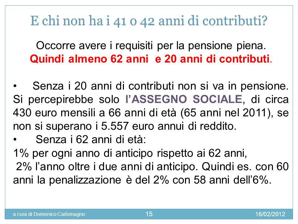 16/02/2012 a cura di Domenico Carlomagno 15 Se si vuole mantenere la quota di TFR presso E chi non ha i 41 o 42 anni di contributi? Occorre avere i re