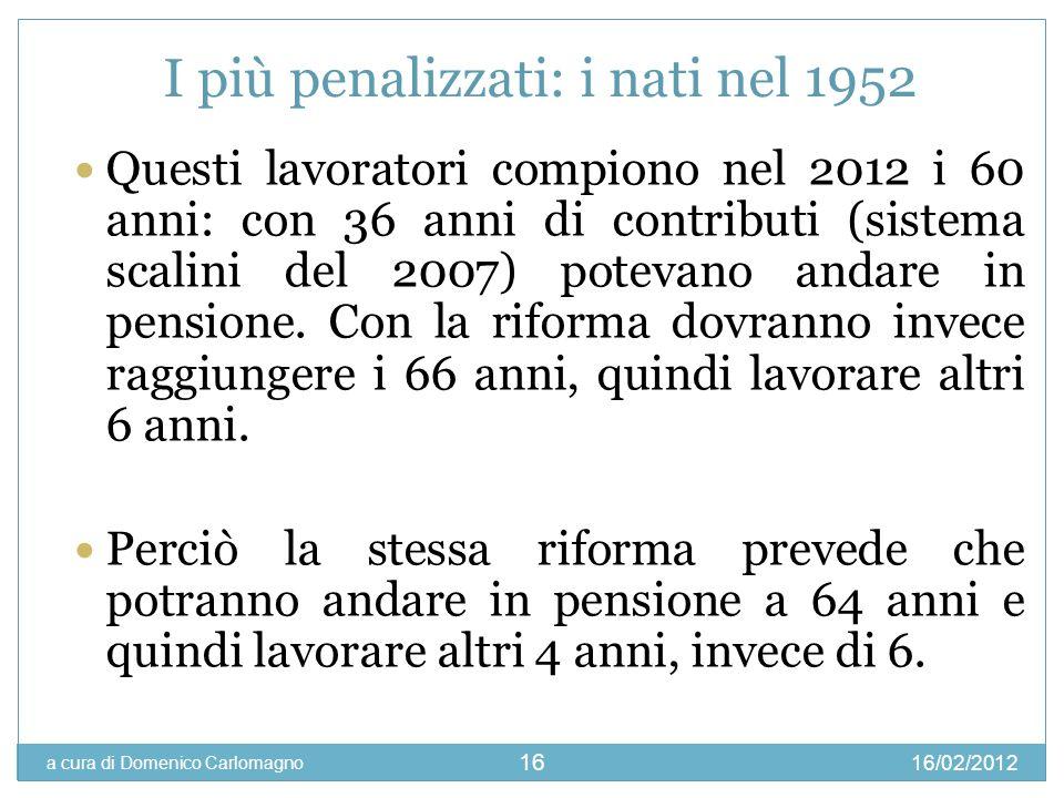 16/02/2012 a cura di Domenico Carlomagno 16 I più penalizzati: i nati nel 1952 Questi lavoratori compiono nel 2012 i 60 anni: con 36 anni di contribut