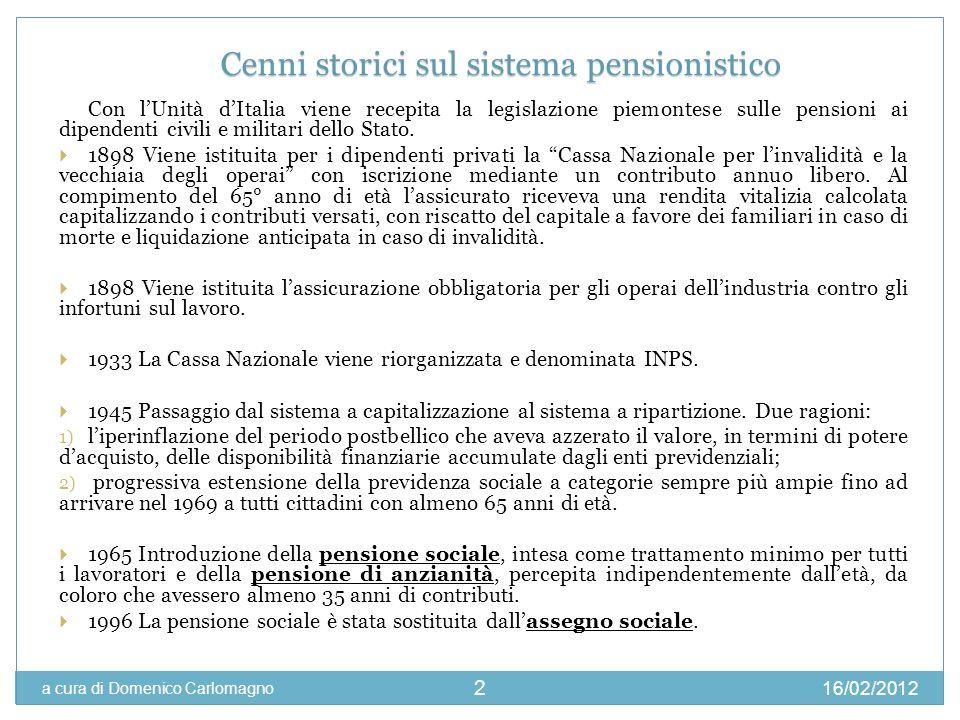 16/02/2012 a cura di Domenico Carlomagno 2 Con lUnità dItalia viene recepita la legislazione piemontese sulle pensioni ai dipendenti civili e militari
