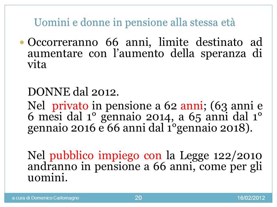 16/02/2012 a cura di Domenico Carlomagno 20 Occorreranno 66 anni, limite destinato ad aumentare con laumento della speranza di vita DONNE dal 2012. Ne