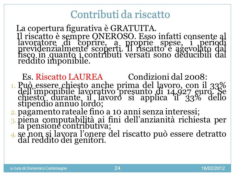 16/02/2012 a cura di Domenico Carlomagno 24 La copertura figurativa è GRATUITA. Il riscatto è sempre ONEROSO. Esso infatti consente al lavoratore di c