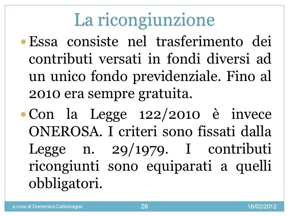 16/02/2012 a cura di Domenico Carlomagno 26 Essa consiste nel trasferimento dei contributi versati in fondi diversi ad un unico fondo previdenziale. F