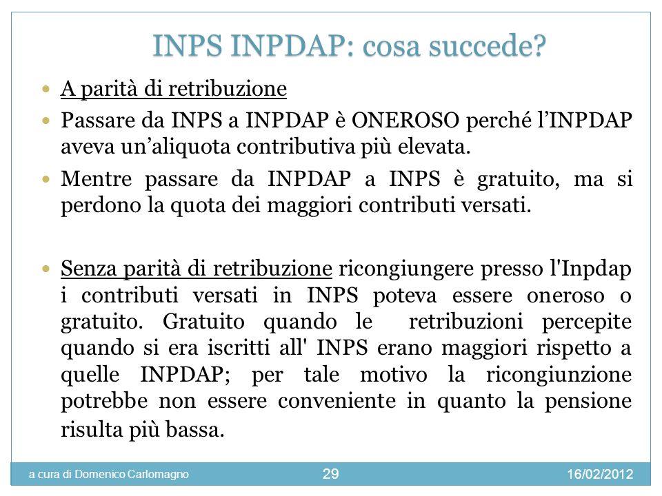 16/02/2012 a cura di Domenico Carlomagno 29 A parità di retribuzione Passare da INPS a INPDAP è ONEROSO perché lINPDAP aveva unaliquota contributiva p