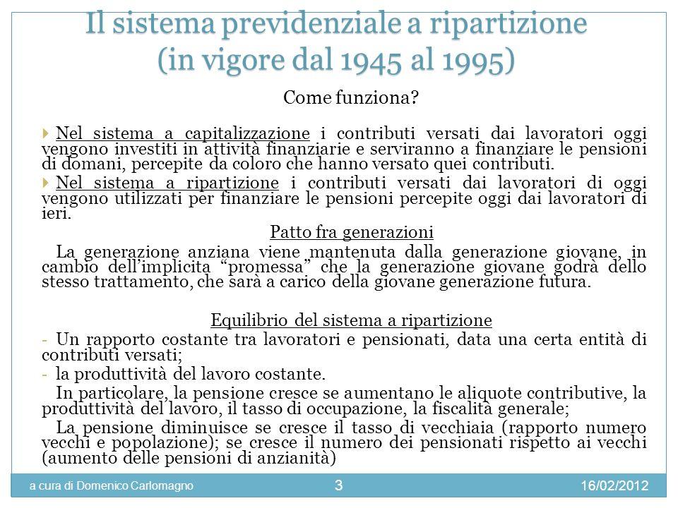 16/02/2012 a cura di Domenico Carlomagno 3 Come funziona? Nel sistema a capitalizzazione i contributi versati dai lavoratori oggi vengono investiti in