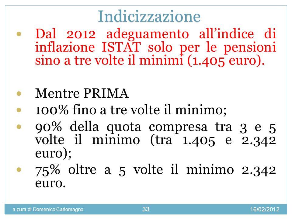 16/02/2012 a cura di Domenico Carlomagno 33 Dal 2012 adeguamento allindice di inflazione ISTAT solo per le pensioni sino a tre volte il minimi (1.405