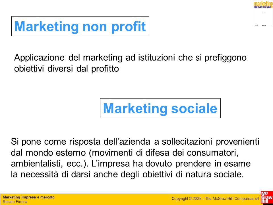 Marketing impresa e mercato Renato Fiocca Copyright © 2005 – The McGraw-Hill Companies srl Marketing non profit Marketing sociale Applicazione del mar