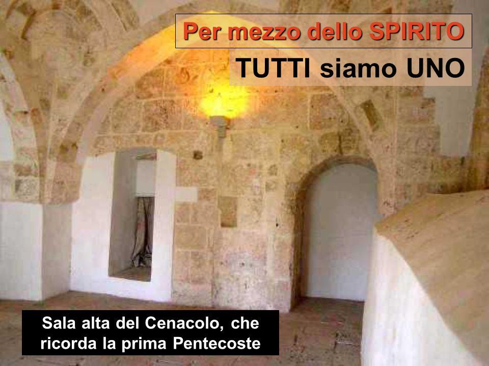 Sala alta del Cenacolo, che ricorda la prima Pentecoste Per mezzo dello SPIRITO TUTTI siamo UNO