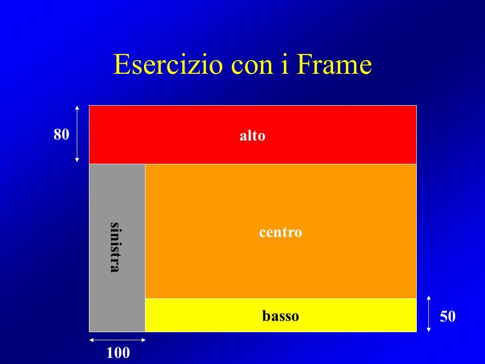 Esercizio con i Frame centro alto sinistra basso 80 50 100