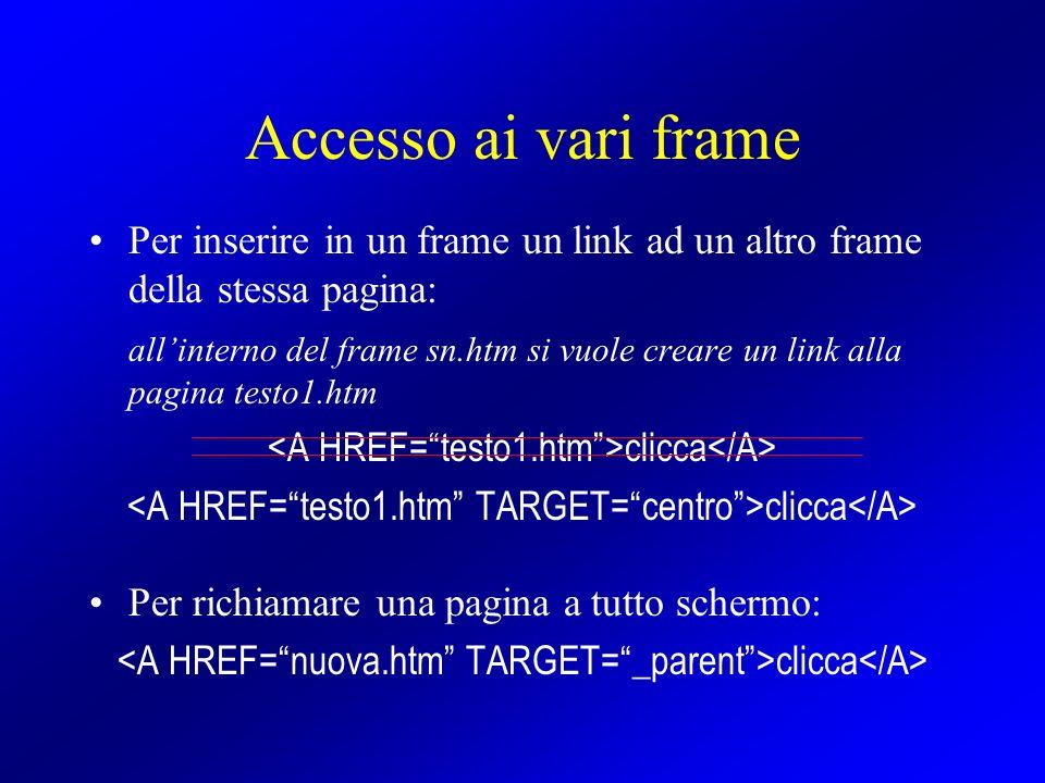 Accesso ai vari frame Per inserire in un frame un link ad un altro frame della stessa pagina: allinterno del frame sn.htm si vuole creare un link alla