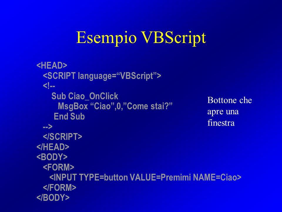 Esempio VBScript <!-- Sub Ciao_OnClick MsgBox Ciao,0,Come stai? End Sub --> Bottone che apre una finestra