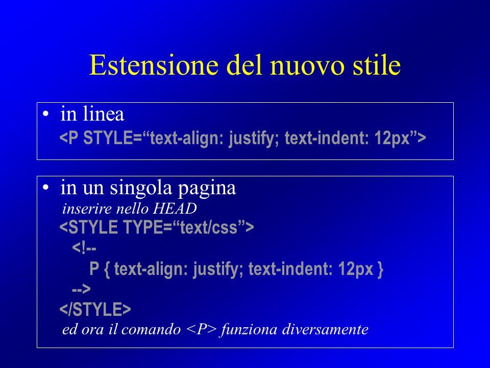 Estensione del nuovo stile in linea in un singola pagina inserire nello HEAD <!-- P { text-align: justify; text-indent: 12px } --> ed ora il comando f