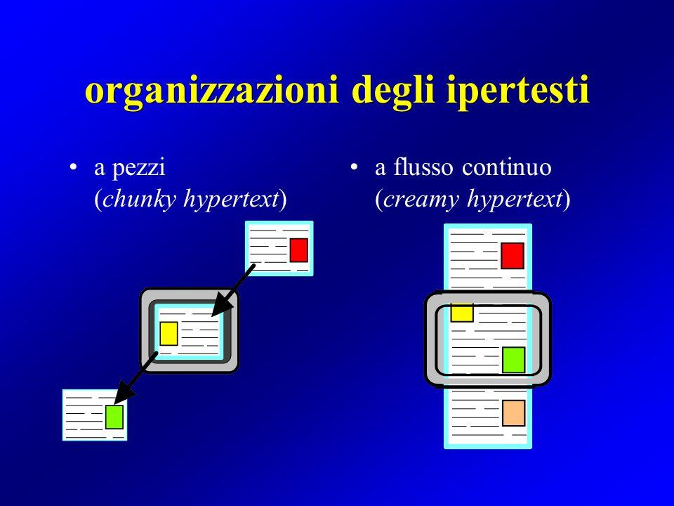 organizzazioni degli ipertesti a pezzi (chunky hypertext) a flusso continuo (creamy hypertext)