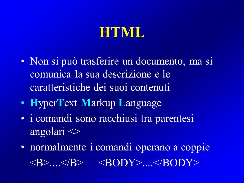 HTML Non si può trasferire un documento, ma si comunica la sua descrizione e le caratteristiche dei suoi contenuti HyperText Markup Language i comandi