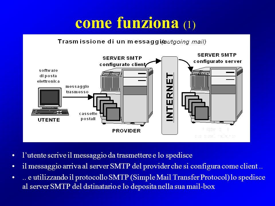 come funziona (2) lutente controlla se è arrivata posta presso il suo server POP3 in caso affermativo i messaggi in arrivo presenti nella sua mail-box vengono trasferiti allutente