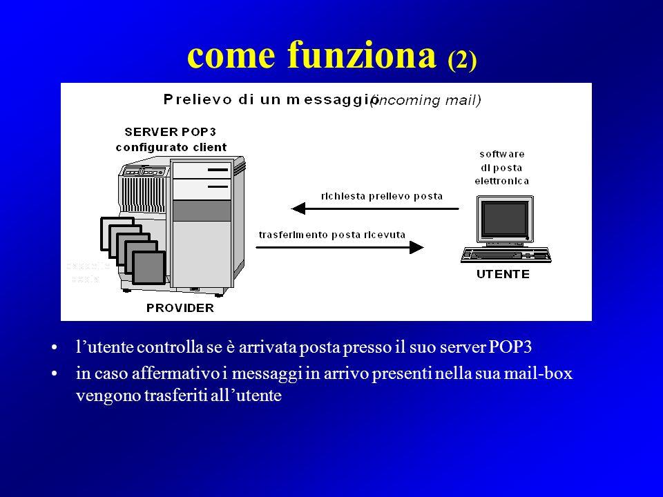 come funziona (2) lutente controlla se è arrivata posta presso il suo server POP3 in caso affermativo i messaggi in arrivo presenti nella sua mail-box