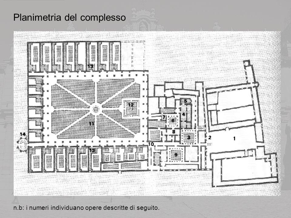 Il portale dingresso immette attraverso un passaggio voltato a botte in una grande corte (1) delimitata da quattro corpi di fabbrica, i quali ospitavano buona parte delle attività produttive, utili per la sussistenza stessa della comunità.