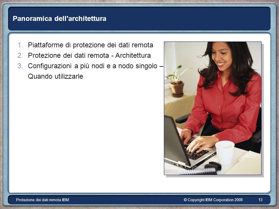 © Copyright IBM Corporation 2008Protezione dei dati remota IBM 13 Panoramica dell architettura 1.Piattaforme di protezione dei dati remota 2.Protezione dei dati remota - Architettura 3.Configurazioni a più nodi e a nodo singolo – Quando utilizzarle
